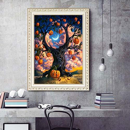 WENXIN DIY 5D Diamant Malerei Halloween Strass Stickerei Bild Kunsthandwerk Hause Wanddekoration Kürbis 30X40 ()