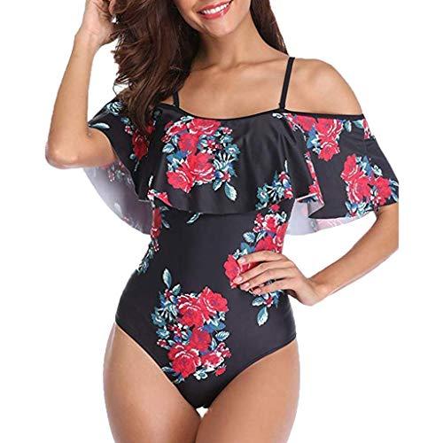 Byongyi Frauen Vintage aus Schulter Badeanzug Rüschen Volant Monokini Badeanzüge One Piece Bademode Beachwear gedruckt,Schwarz,Mittel