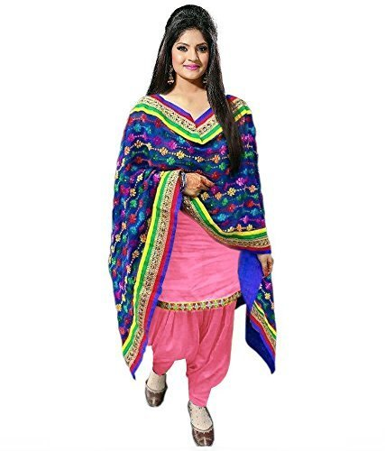 Sanjana Design Women's Cotton Salwar Suit Dress Material (PINK1001-FreeSize_Pink)