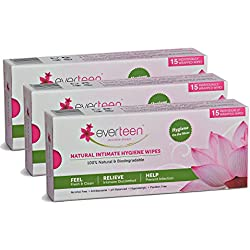 Everteen Natural Feminine Intimate Hygiene Wipes - 15 Individually Wrapped (Pack of 3)