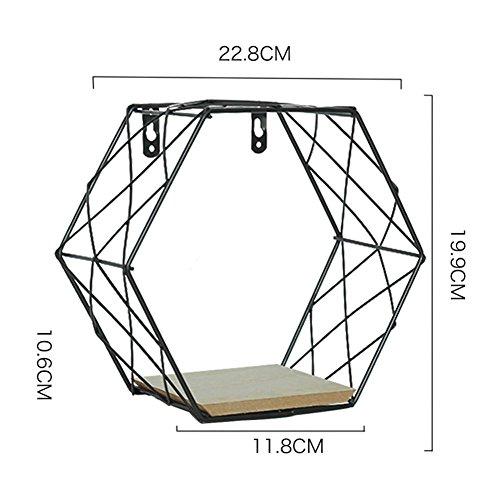 Struttura a ferro galleggiante scaffale in metallo esagonale griglia da appendere alla parete con mensola da parete con mensola figura decorazione da parete per soggiorno