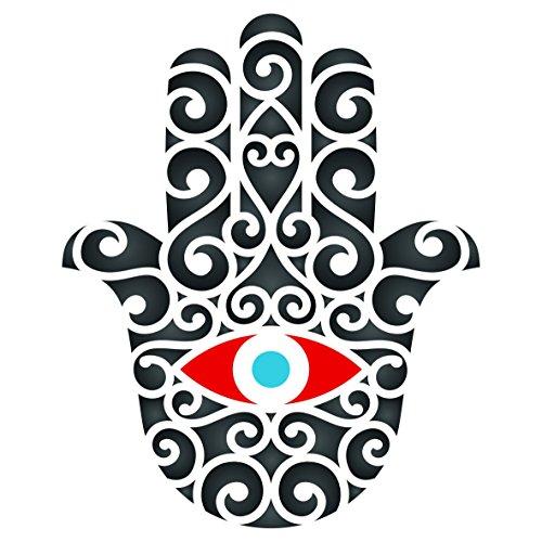 Hamsa-Schablone, wiederverwendbar, mit Handmotiv, Islam, Judentum, Kabbalah, für Papier, Scrapbook, Tagebuch, Wände, Böden, Stoff, Möbel, Glas, Holz usw. L