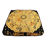 Création de Janki Indien Astrologie Chien Puff, Hippie décoratifs à Fermeture Éclair Bohemian Pouf carré Taie d'oreiller, idéal pour Cadeau Bohème Yoga Décor Housse de Coussin de Sol