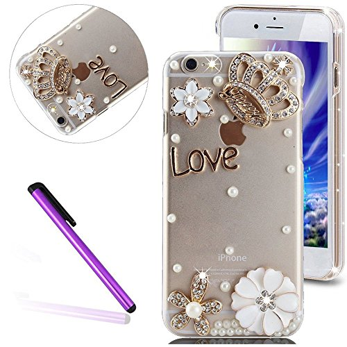Bling Pailletee Coque pour iPhone 6S,iPhone 6 Coque Bling Etui Housse,iPhone 6S Plastique Coque Hard Etui,iPhone 6S Transparent Plastic Case Cover,EMAXELERS Cute Gold Bear Biycle Modèle Briller Bling  Diamond PC Series 5