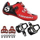 SIDEBIKE Zapatillas de Ciclismo con Pedales y Calas, Zapatos de Bicicleta de Carretera Ajustables, Antivibración Amortiguación, Calzado Ciclismo con Malla de Nylon Transpirable (44, Rojo)
