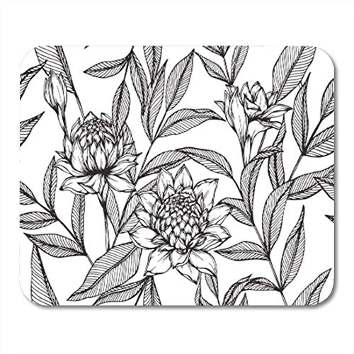 HOTNING Gaming Mauspads, Gaming Mouse Pad Black Hawaiian Pattern Torch Ginger Flower and Leaf Drawing 11.8