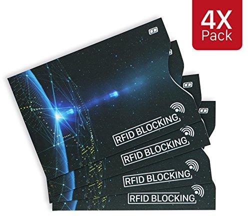 MyGadget 4x Porte Carte Protection Bloqueur RFID/NFC/Sans Contact - Slim Card Holder Protège Données Anti Espion Carte Bleue/de Crédit/Paiement