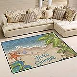 Jsteel Teppich, waschbar, weich, für den Sommer, Urlaub am Strand, am Meer, 90 x 60 cm, Multi, 90 x 60 cm
