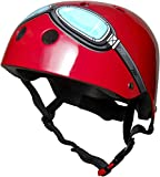 Kiddimoto 2kmh006s - Design Sport Helm Goggle, Pilot S für Kopfumfang 48-53 cm, 2-5 Jahre, rot