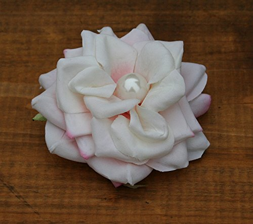 Haarschmuck Haarblüte Haarblume Ansteckblume Rose creme-rosa Perle Hochzeit #45999