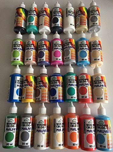 fenstermalfarben H&S Window Color 80ml 28 Farben Fenstermalfarbe inkl.4 Konturenfarben Starter Set