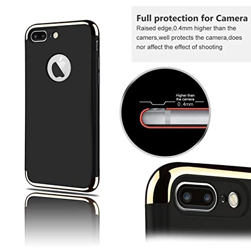 iPhone 7Plus Case, Augus tcoco 3en 1ultra Thin and Slim Design Coated Premium non Slip Surface Resist Cracking electroplating ShockProof pour PC Skin Protector for iPhone 7Plus noir