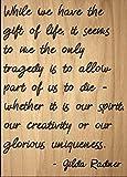 Mundus Souvenirs | während Wir haben die Geschenk Leben, es Seems. Zitat Gilda Radner, Laser Gravur auf Holz Plaque–Größe: 20,3x 25,4cm