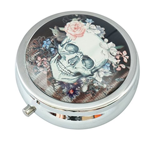 WuCong Floral Skull Custom Fashion Design Glas Rund Pillendose Western Medizin Tablet Halter Dekorative Box