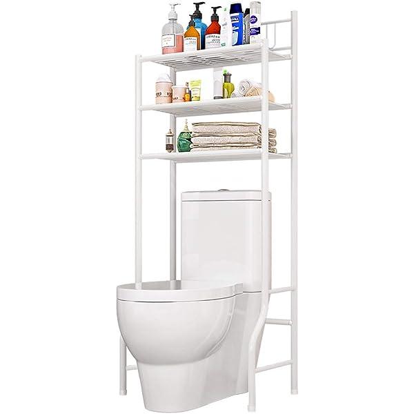 3-Tier Over Toilet Shelf Metal White Bathroom Shelf Storage Bathroom Storage Rack/Shelf Washing Machine Shelf Bathroom Shelf Multifunctional Space Saving Organizer White 176.5 x 62 x 33.5 cm