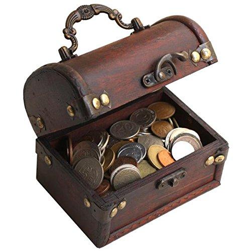 Impacto coleccionables collezione monete dal mondo - 1 chilo di monete con splendido bauletto in legno