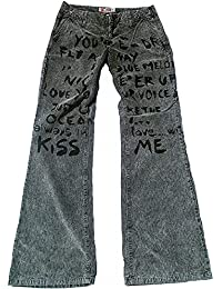 Fornarina Damen Jeans Pants Grau Gray Club More LOVE YOU KISS YOU Aufdruck Kord Cord Bootcut Hose Schlagjeans