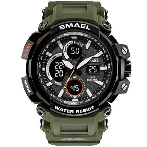 SMAEL Mens Sports Watch, Fashion New Design Watch Analog Digital Watch Sports Wristwatch Military Watch (Army Green)