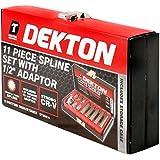 """Dekton DT85815 - Juego de llaves hexagonales con adaptador de 1/2"""" (11 piezas)"""