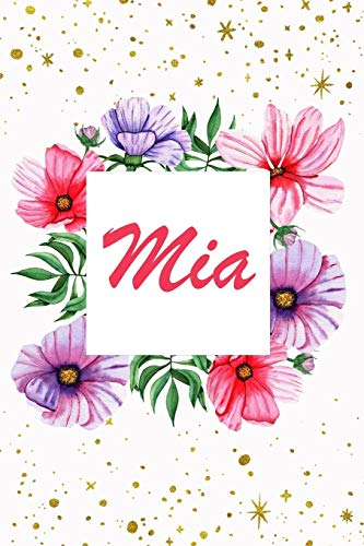 Mia: Cute Personalized Name Notebook Journal Diary to write in - women names (Sandal Flower Pink)