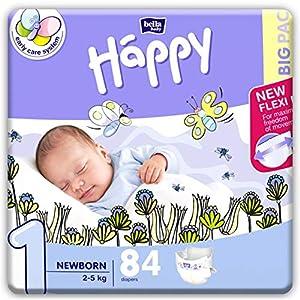 bella baby Happy Windeln Größe 1 Newborn 2-5 kg, 1er Pack (1 x 84 Stück) + 2er Pack Feuchttücher Sensitive