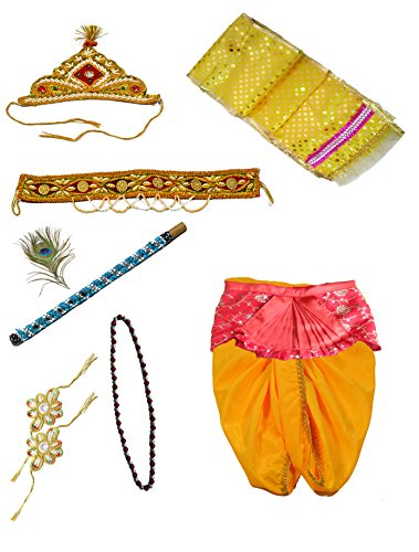 Pakhi Little Krishna Dhoti Dupatta Set - Yellow Set with Fan (9 - 12 months)