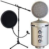 Icon U2-Microfono a condensatore a diaframma largo, con USB e Keepdrum ms106 EMH Pop per microfono
