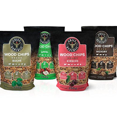 Premium Räucherchips Mix (Hickory, Apfel, Buche und Kirsche) für optimales Raucharoma beim Grillen / 100% Natürliches Smoker-Holz geeignet für Kugel- Stand und Gas-Grill...