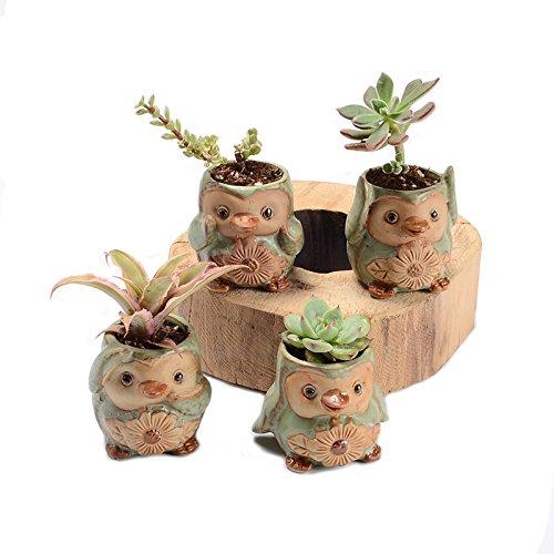 4/Set Cartoon pengui-shaped Blumentopf Sukkulente Topf fleischigen Pflanzgefäßen klein Keramik Vase Home/Garten Pot (Keramik-blumen-pins)