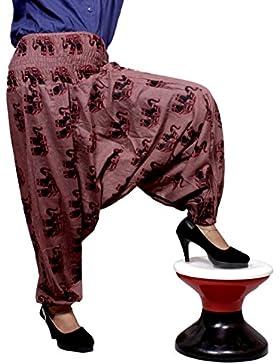 Algodón Elefante Impresión Genie harén pantalones Beggy Gypsy pantalones Yoga tamaño libre