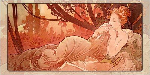 Posterlounge Leinwandbild 180 x 90 cm: Crepuscule - Abenddämmerung von Alfons Mucha - fertiges...
