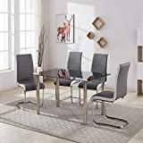GIZZA MODERN TEMPERED GLASS TABLE SET AND 4 CHROME LEGS BLACK/GREY WHITE SIDE CHAIRS DINING ROOM HOME FURNITURE (4 Grey Chairs + Table)