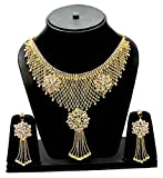 Eshopitude Designer Cz American Diamond Queen Full Neck Gold Plated Necklace & Earrings Set For Women