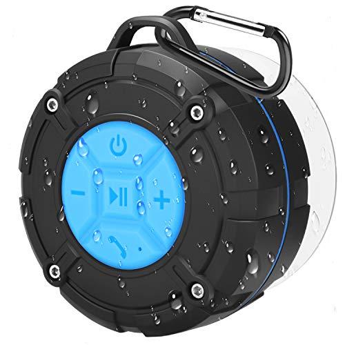 PEYOU Bluetooth Dusch Lautsprecher, Mini Bluetooth Lautsprecher im Saugnapf-Design, IPX7 wasserdicht, kabellos Bluetooth 4.2, geeignet für Familienreisen und Strandduschen, Aufbau-Lautsprecher