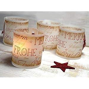 Set 6 x Lichthülle für Tischlicht mit Karoband Advent Weihnachten handmade vintage look