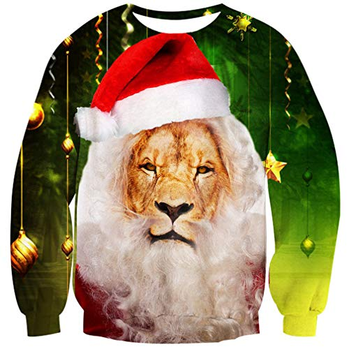 Goodstoworld Hässliche Weihnachtspullover 3D Unisex Männer Löwe Pullover Weihnachten Sweatshirt Ugly Christmas Sweater L