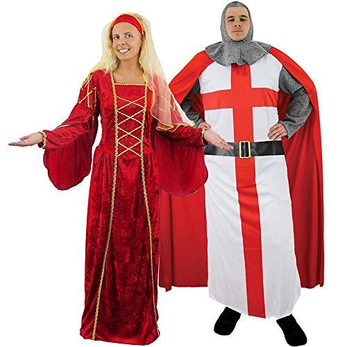 ELALTERLICHER Ritter & KÖNIGIN Paare =KOSTÜM VERKLEIDUNG =Renaissance Tudor KÖNIGIN + ST. Georges ENGLISCHER Kreuzritter =Fasching Karneval=Mann-Large+Frau-STANDART ()