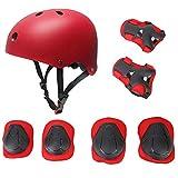 Kinder Sport-Schutzausrüstung von KUYOU, 7PCS Knieschoner Ellenbogenschoner Handgelenkschutz Helm Schutzset zum Draußen Rollschuhlaufen Inline Skates Skateboarding Radfahren