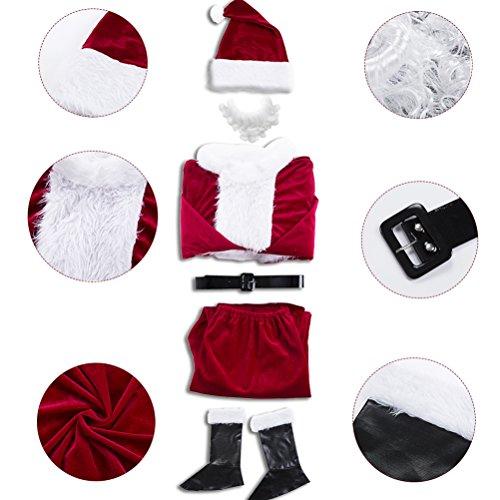 Imagen de disfraz de papá noel para adulto 6 piezas , disfraz santa claus, color vino rojo. alternativa