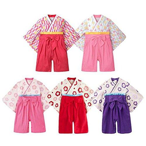 Hzjundasi Bebé Niñas Moda Flor Impresión Mameluco Jumpsuits Estilo Hakama Kimono Ropa + Pantalones Conjunto Infante Monos Manga Larga Algodón Invierno Otoño Prenda Exterior Ropa Abrigos