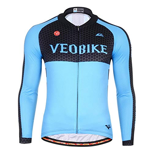 SonMo Herren Sportbekleidung Fahrradanzug Reitanzug Fahrrad Trikot Radtrikot Jersey Mountain Biking Anzug Fahrradkleidung Fahrradshirts Sportjacke Langarm Frühling und Sommer Blau XL