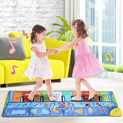 Miavogo Tanzmatte Kinder, Piano Mat Klaviermatte 8 Einstellbare Lautstärke + 8 Instrumente + 10 Keyboard Musik Matte für Jungen Mädchen - 130 x 48 cm