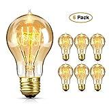 Edison Glühbirne, otumixx Vintage Glühbirne E27 60W 220V Retro Glühbirnen Dimmbar Filament Warmweiß 2700-3200K Dekorative Glühbirne Ideal für Nostalgie und Antike Beleuchtung - 6 Stück