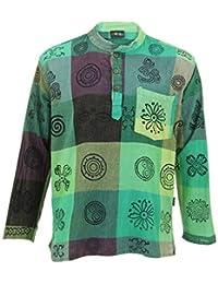 20c0991291 Gringo Long Sleeve Stonewash  Squares  Printed Nepalese Kurta Grandad Shirt
