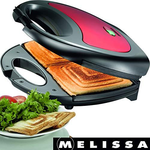 Melissa 16240084 750 Watt Sandwichtoaster Sandwich-Maker mit antihaftbeschichteten Backplatten, Rot...