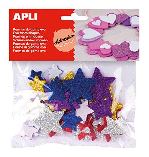 APLI - Bolsa formas EVA adhesiva purpurina