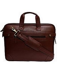 Exit9 Expandable Laptop Leather Bag - Cross Body Shoulder Bag For Men & Women (Brown)
