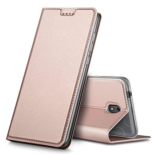 Nokia 1 Hülle, GeeMai Premium Flip Case Tasche Cover Hüllen mit Magnetverschluss [Standfunktion] Schutzhülle Handyhülle für Nokia 1 Smartphone, Rosegold