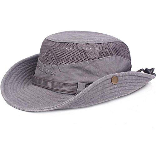 Obling Sonnenhut Herren UV Schutz Atmungsaktiv Quick Dry Fischerhut Hiking Strand Faltbar Safari Buschhüte Cap (Grau)