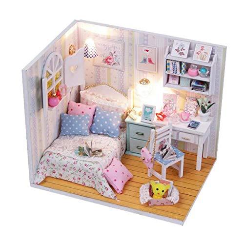 1:24 Puppenhaus Miniatur DIY Minipuppen Haus mit Zubehör Möbel Puppenfamilie Mädchen Spielzeug - Schlafzimmer